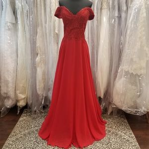 Dresses & Skirts - Red Lace Chiffon Gown